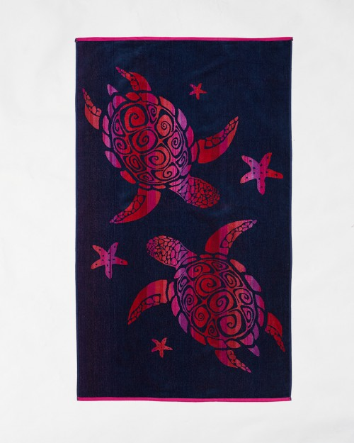 Beach towels Le Comptoir de la Plage - Fuxia turtles